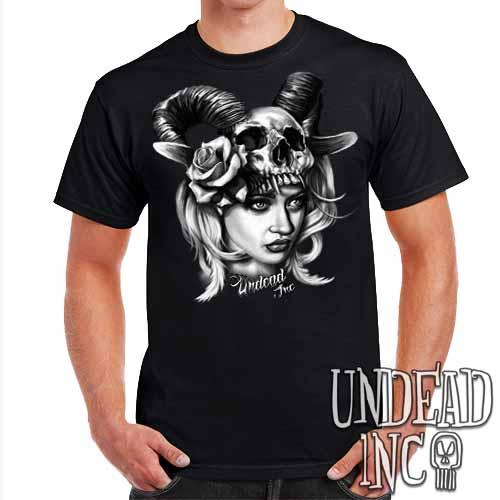 Black Grey Tattoo Art Head Hunter - Mens T Shirt - Undead Inc Mens T-shirts,