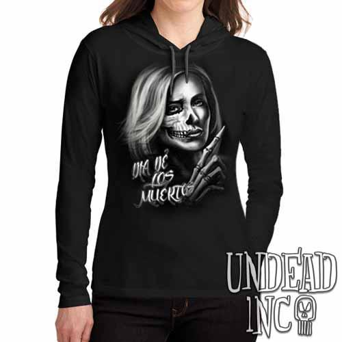 Beautiful Death - Day of the Dead  - Ladies Long Sleeve Hooded Shirt - Undead Inc Long Sleeve T Shirt,
