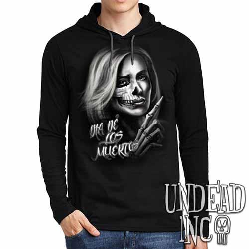 Beautiful Death - Day of the Dead - Mens Long Sleeve Hooded Shirt - Undead Inc Long Sleeve T Shirt,