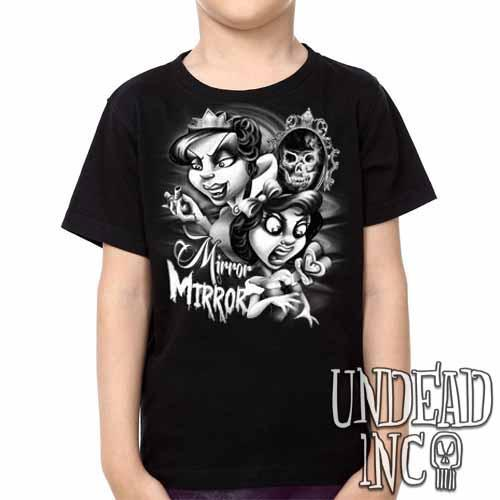 Snow White Mirror Mirror - Kids Unisex Girls and Boys T shirt Clothing Black Grey