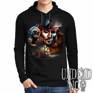 Pirates Of The Caribbean Undead Jack Sparrow - Mens Long Sleeve Hooded Shirt