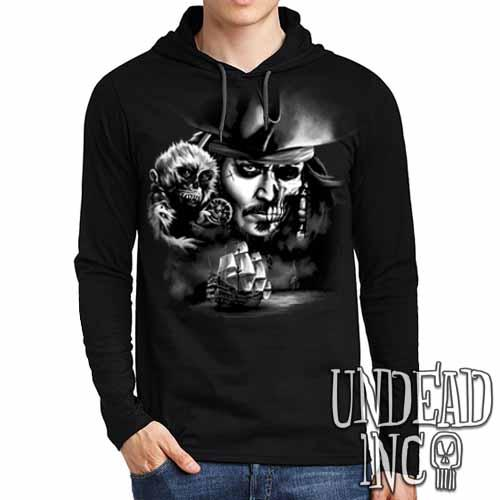 Pirates Of The Caribbean Undead Jack Sparrow Black Grey Mens Long Sleeve Hooded Shirt
