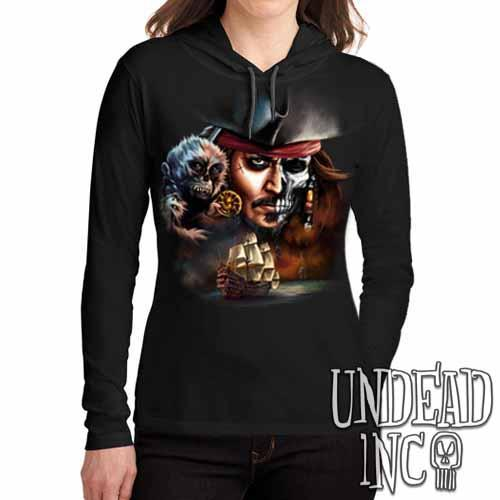 Pirates Of The Caribbean Undead Jack Sparrow - Ladies Long Sleeve Hooded Shirt Long Sleeve T Shirt Undead Inc