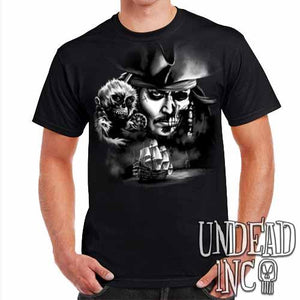Pirates Of The Caribbean Undead Jack Sparrow Black Grey - Mens T Shirt