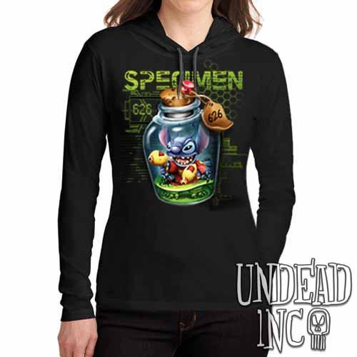 Stitch Specimen 626 - Ladies Long Sleeve Hooded Shirt Long Sleeve T Shirt Undead Inc