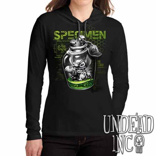 Stitch Specimen 626 Black Grey Ladies Long Sleeve Hooded Shirt Long Sleeve T Shirt Undead Inc