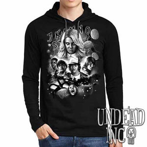 Stranger Things Black Grey Mens Long Sleeve Hooded Shirt