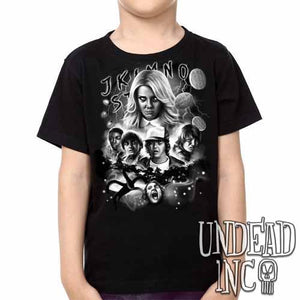 Stranger Things -  Kids Unisex Girls and Boys T shirt Clothing Black & Grey