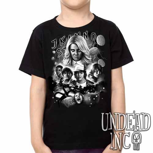 Stranger Things - Kids Unisex Girls and Boys T shirt Clothing Black & Grey Kids T-shirts Undead Inc