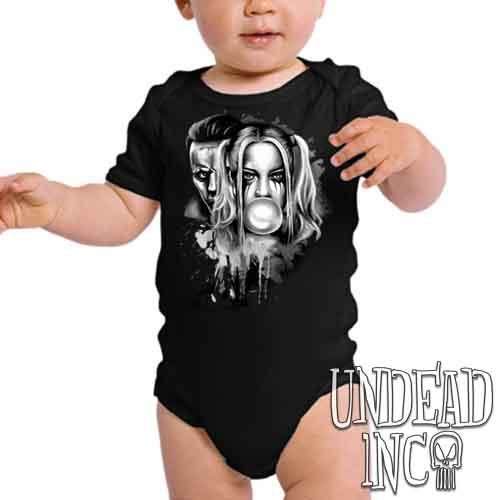 Suicide Squad Harley Quinn & Joker Paint Splatter Black & Grey - Infant Onesie Romper