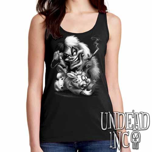 Villains Cruella De Vil Tattooing White Rabbit - Ladies Singlet Tank BLACK GREY