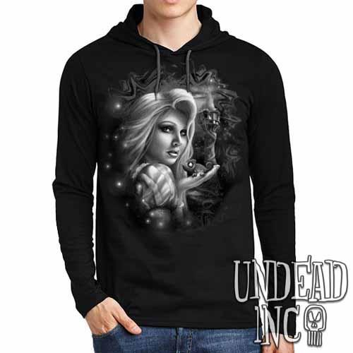 Tangled Black Grey Mens Long Sleeve Hooded Shirt