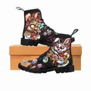Alice In Wonderland White Rabbit & Hare Mad Tea Party MENS Martin Boots