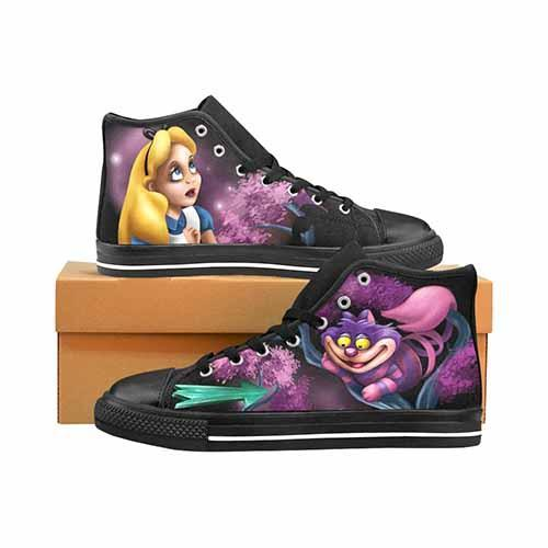 Alice In Wonderland Cheshire Cat That Way Women's Classic High Top Canvas Shoes - Undead Inc Women's High Top Canvas,