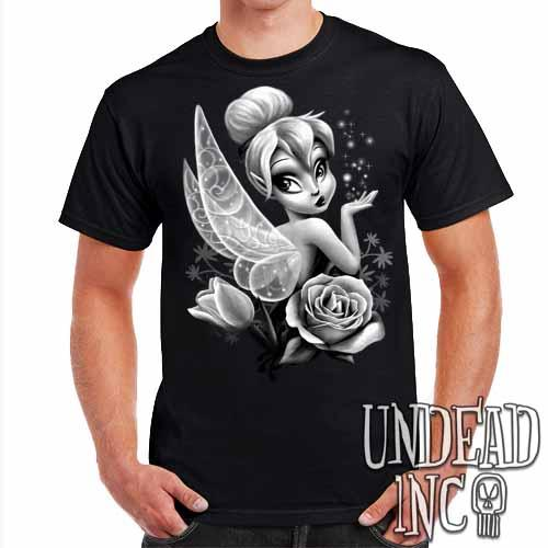 Tinkerbell  - Mens T Shirt Black & Grey