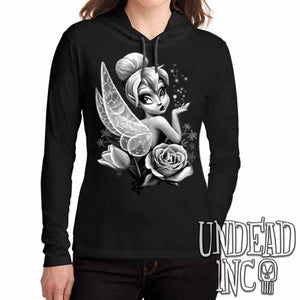 Tinkerbell Black & Grey - Ladies Long Sleeve Hooded Shirt