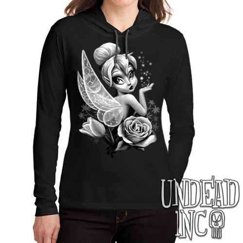 Tinkerbell Black & Grey - Ladies Long Sleeve Hooded Shirt Long Sleeve T Shirt Undead Inc