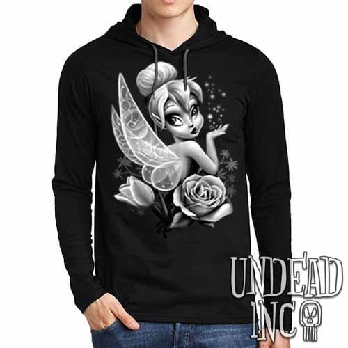 Tinkerbell Black & Grey - Mens Long Sleeve Hooded Shirt