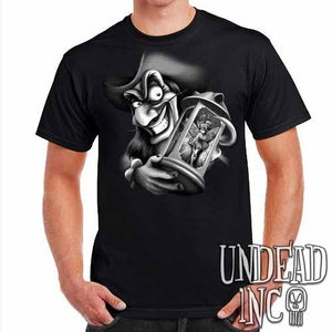 Tinkerbell and Captain Hook  - Mens T Shirt - Black Grey
