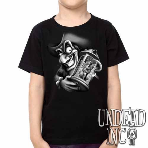 Tinkerbell and Captain Hook - Kids Unisex Girls and Boys T shirt Black Grey