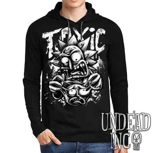 Rick Turning Toxic Black & Grey - Mens Long Sleeve Hooded Shirt