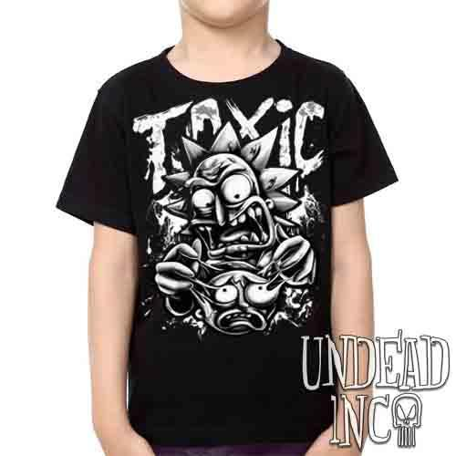 Rick Turning Toxic Black & Grey -  Kids Unisex Girls and Boys T shirt Clothing
