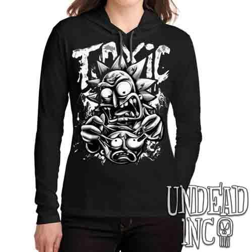 Rick Turning Toxic Black & Grey - Ladies Long Sleeve Hooded Shirt