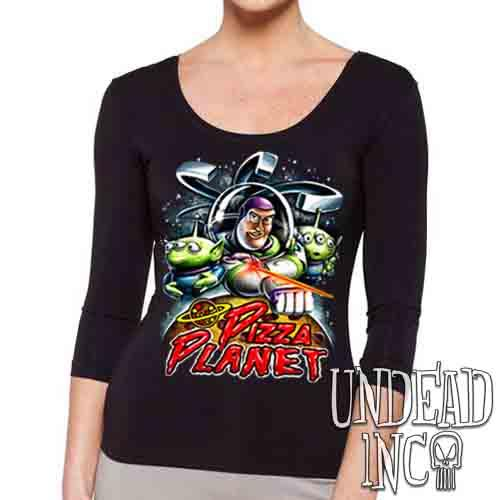 Pizza Planet Buzz - Ladies 3/4 Long Sleeve Tee Ladies 3/4 Long Sleeve Undead Inc