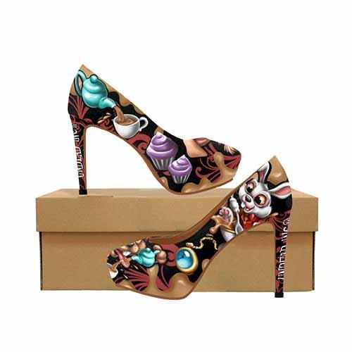 Alice In Wonderland Mad Tea Party Platform High Heels
