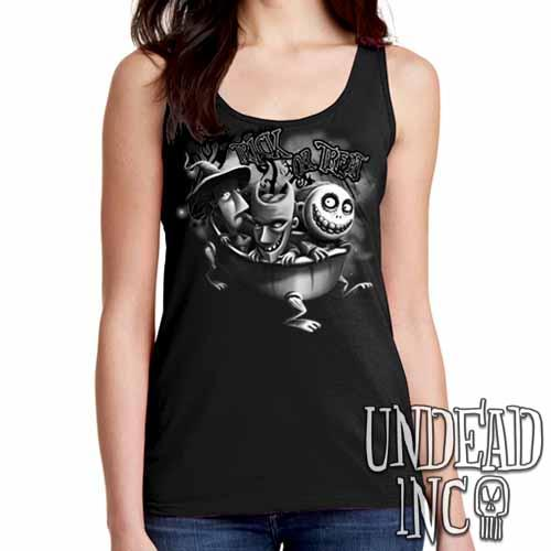 Nightmare Before Christmas Trick or Treat - Ladies Singlet Tank BLACK GREY Ladies Tank Tops Undead Inc