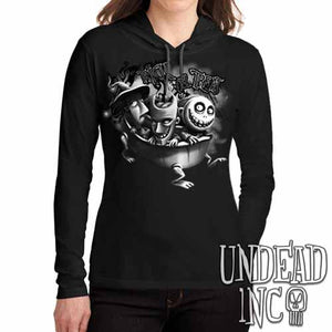 Nightmare Before Christmas Trick or Treat Black Grey Ladies Long Sleeve Hooded Shirt
