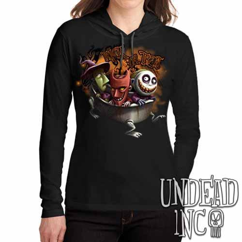 Nightmare Before Christmas Trick or Treat - Ladies Long Sleeve Hooded Shirt