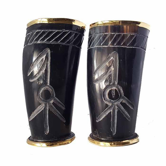 Viking Undead King And Queen Hand Carved Drinking Horn Set Of 2