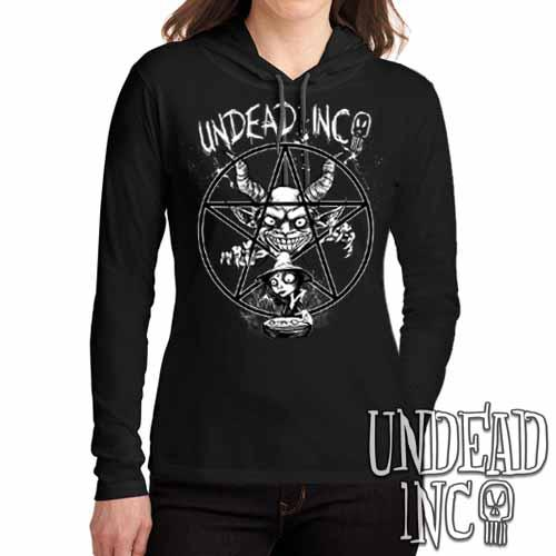 Demon Witch Pentagram Undead Inc - Ladies Long Sleeve Hooded Shirt - Undead Inc Long Sleeve T Shirt,