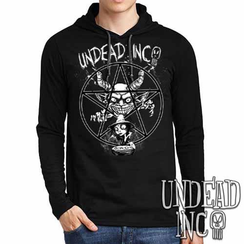 Demon Witch Pentagram Undead Inc - Mens Long Sleeve Hooded Shirt - Undead Inc Long Sleeve T Shirt,