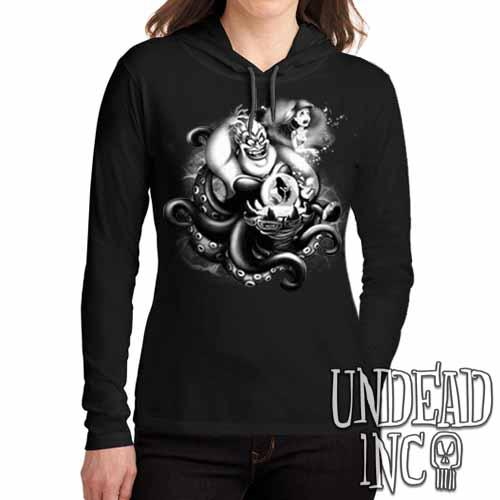 Villains Ursula - Ariel the Little Mermaid Black Grey Ladies Long Sleeve Hooded Shirt
