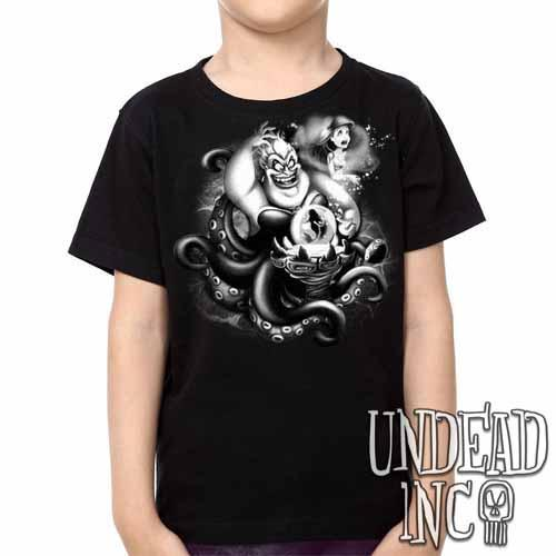 Villains Ursula - Ariel the Little Mermaid -  Kids Unisex Girls and Boys T shirt Clothing Black Grey
