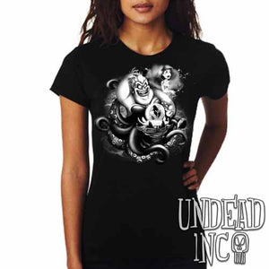 Villains Ursula - Ariel the Little Mermaid - Ladies T Shirt Black Grey