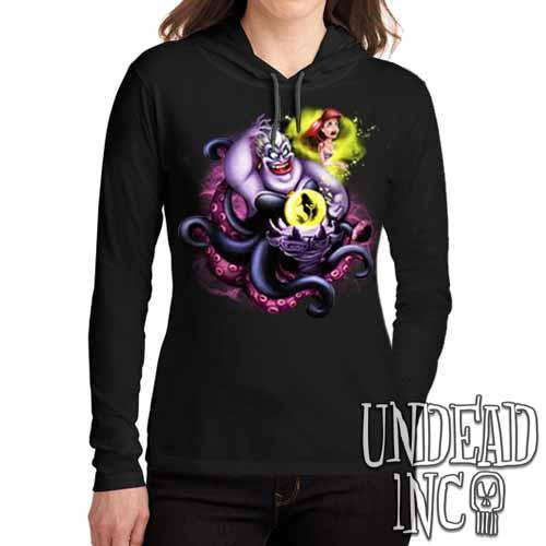Villains Ursula - Ariel the Little Mermaid - Ladies Long Sleeve Hooded Shirt