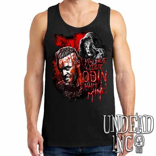 Vikings Ragnar & The Seer - Odin Black Grey Red Mens Tank Singlet