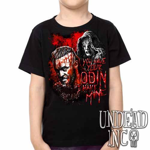 Vikings Ragnar & The Seer - Odin -  Kids Unisex Girls and Boys T shirt Clothing Black Grey Red