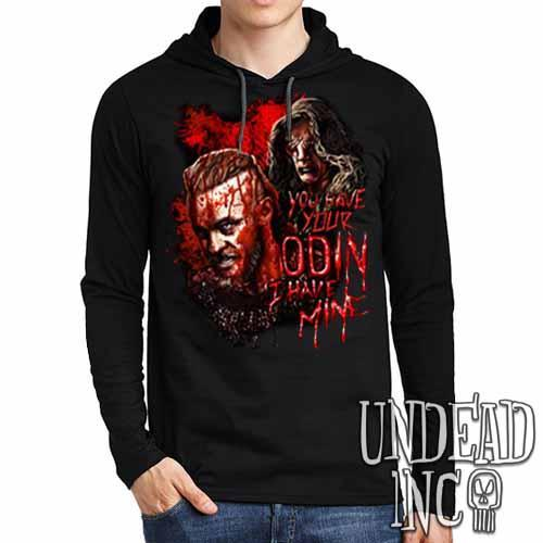 Vikings Ragnar & The Seer - Odin - Mens Long Sleeve Hooded Shirt