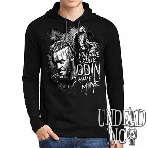 Vikings Ragnar & The Seer - Odin Black Grey Mens Long Sleeve Hooded Shirt