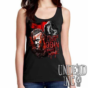 Vikings Ragnar & The Seer - Odin - Ladies Singlet Tank Black Grey Red
