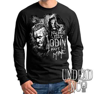Vikings Ragnar & The Seer - Odin Black & Grey - Mens Long Sleeve Tee