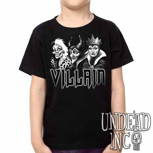 VILLAIN - Cruella Maleficent & Evil Queen - Kids Unisex Girls and Boys T shirt Clothing Black Grey