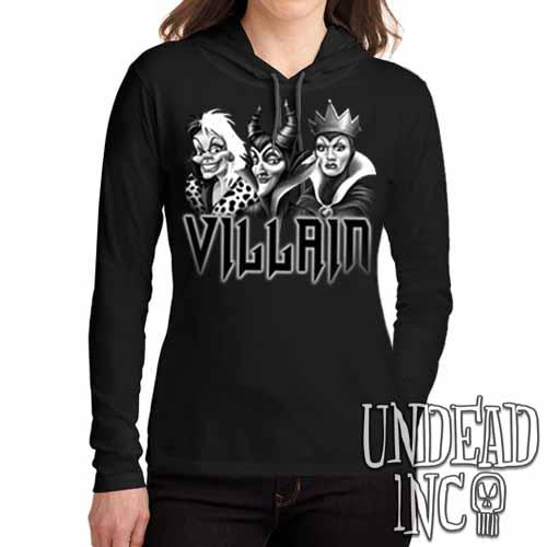VILLAIN - Cruella Maleficent & Evil Queen Black Grey Ladies Long Sleeve Hooded Shirt Long Sleeve T Shirt Undead Inc