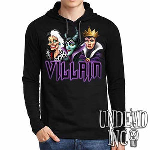 VILLAIN - Cruella Maleficent & Evil Queen - Mens Long Sleeve Hooded Shirt