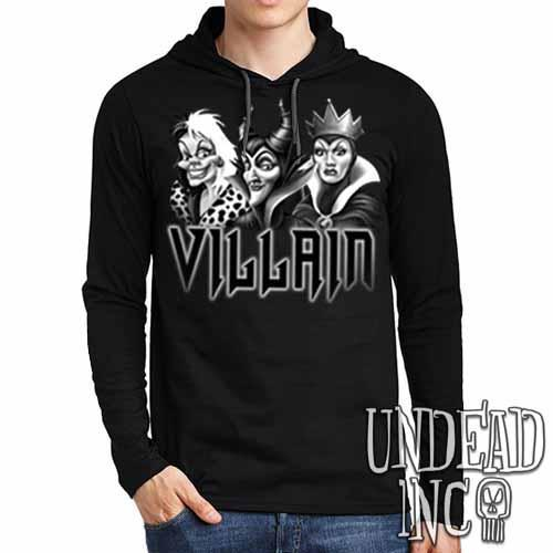 VILLAIN - Cruella Maleficent & Evil Queen Black Grey Mens Long Sleeve Hooded Shirt Long Sleeve T Shirt Undead Inc