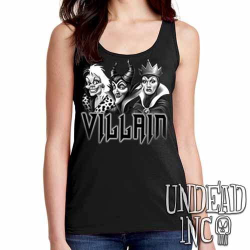 VILLAIN - Cruella Maleficent & Evil Queen - Ladies Singlet Tank Black Grey